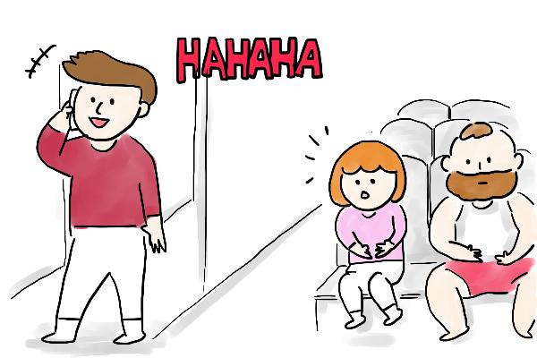 電車の中で通話
